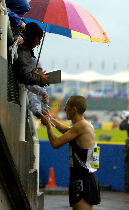Photo: Richard Lane/Sportsbeat Images..Norwich Union British Grand Prix, Sheffield. 15/07/2007. .Andrew Baddeley of Great Britain signs autographs after  winning the Men's 1500m.