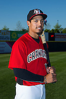 Luke Tendler (18) of the Hickory Crawdads poses for a photo prior to the game against the Kannapolis Intimidators at L.P. Frans Stadium on April 23, 2015 in Hickory, North Carolina.  The Crawdads defeated the Intimidators 3-2 in 10 innings.  (Brian Westerholt/Four Seam Images)