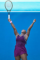 12th January 2020, Auckland, New Zealand;  Serena Williams (USA) celebrates winning her singles finals match against Jessica Pegula (USA) at the 2020 Women's ASB Classic at the ASB Tennis Centre, Auckland, New Zealand.
