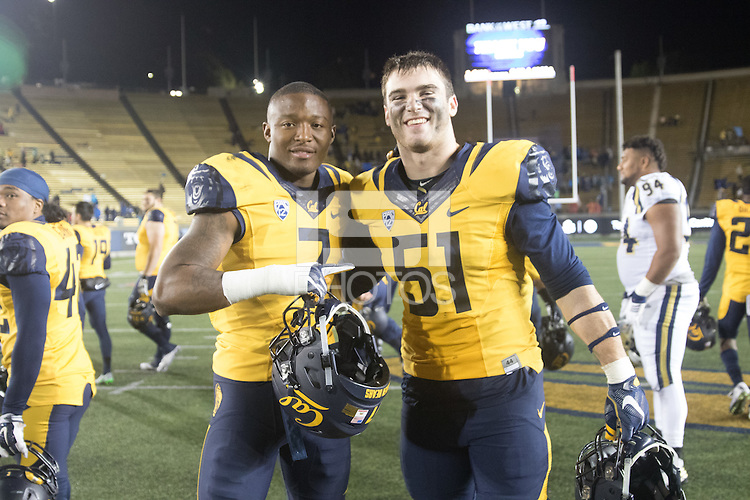 BERKELEY, CA - November 26, 2016: Cal's Khari Vanderbilt (7) and Cameron Saffle (51) after the game.  Cal played UCLA at California Memorial Stadium.