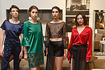 Fashion designer Mina Zhou (far right) poses with models during the New York School of Design Spring Summer 2018 fashion show presentation at Calligaris on 55 Thompson Street on September 7, 2017 during New York Fashion Week.