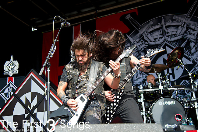 Robb Flynn and Phil Demmel of Machine Head perform during the 2013 Mayhem Festival at Klipsch Music Center in Indianapolis, Indiana.