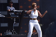 Washington, DC - April 18, 2015: Grammy Award winning singer and song writer Mary J Blige performs at the annual Earth Day concert on the National Mall in the District of Columbia April 18, 2015. The concert, sponsored by Earth Day Network and The Global Poverty Project, promotes ending extreme poverty and solving climate change.  (Photo by Don Baxter/Media Images International)