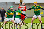 Derrys Sean McCullagh blocked by Kerry's Mikey Boyle Keith Carmody and Michael O'Leary at the Allianz Hurling League Kerry Vs Derry at Austin Stack Park on Sunday