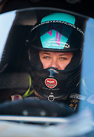 Oct 18, 2019; Ennis, TX, USA; NHRA top alcohol dragster driver Megan Meyer during qualifying for the Fall Nationals at the Texas Motorplex. Mandatory Credit: Mark J. Rebilas-USA TODAY Sports