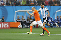 Arjen Robben (NED), Ezquiel Garay (ARG),<br /> JULY 9, 2014 - Football / Soccer :<br /> FIFA World Cup 2014 semi-final match between Netherlands 0(2-4)0 Argentina at Arena De Sao Paulo Stadium in Sao Paulo, Brazil. (Photo by AFLO) [3604]
