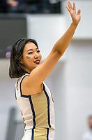 WASHINGTON, DC - JANUARY 29: George Washington cheerleader performs during a game between Davidson and George Wshington at Charles E Smith Center on January 29, 2020 in Washington, DC.