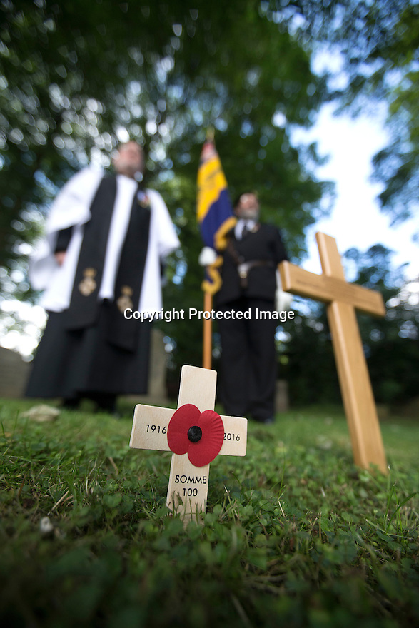 """11/06/16<br /> <br /> One hundred years have passed since Private Charles Gordon Shaw was fatally wounded in the Battle of the Somme, but today is the first day his family have been able to grieve at his graveside.<br /> <br /> Full Story: https://fstoppressblog.wordpress.com/private_charles_shaw/<br /> <br /> <br /> That's because his grave was """"lost"""" during a changeover in church vicars and when the Commonwealth War Graves Commission tried to place a headstone on his plot in 1926, the new vicar was unable to tell them where the body was buried.<br /> <br /> But today, thanks to detective work by his  niece, 83-year-old Dorris Innes from Spondon, together with an amateur historian who located the 'lost' grave, Private Shaw's family were finally able to pay their respects to the war hero, with a commemorative service at his grave, exactly 100 years to the day since he was buried at Christ Church in Stonegravels, Chesterfield.<br /> <br /> All Rights Reserved, F Stop Press Ltd."""