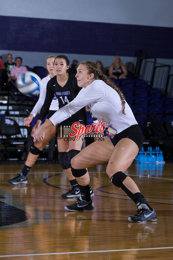 Abby Broadstreet (3) of the High Point Panthers digs the ball against the Wake Forest Demon Deacons at the Panther Invitational at the Millis Athletic Center on September 12, 2015 in High Point, North Carolina.  The Demon Deacons defeated the Panthers 3-1.   (Brian Westerholt/Sports On Film)