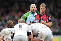 Joe Marler (left) and Chris Robshaw of Harlequins during the Aviva Premiership match between Harlequins and Bath Rugby at the Twickenham Stoop on Saturday 13th April 2013 (Photo by Rob Munro)