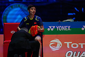 18th March 2018, Arena Birmingham, Birmingham, England; Yonex All England Open Badminton Championships; Shi Yuqi (CHN) receives some treatment in the mens singles  final against Lin Dan (CHN)