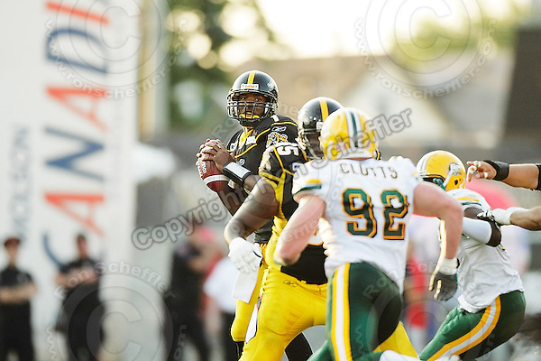 July 25, 2008; Hamilton, ON, CAN; Hamilton Tiger-Cats quarterback Casey Printers (1). CFL football - Edmonton Eskimos versus Hamilton Tiger-Cats at Ivor Wynne Stadium. The Eskimos defeated the Tiger-Cats 19-13. Mandatory Credit: Ron Scheffler-ronscheffler.com. Copyright (c) Ron Scheffler