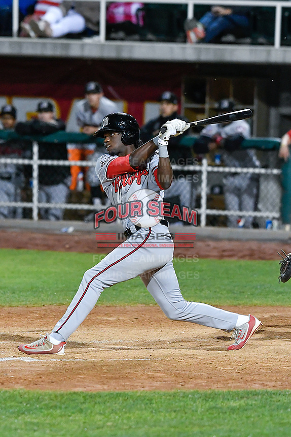 Michael Beltre (36) of the Billings Mustangs follows through on his swing against the Orem Owlz in Game 2 of the Pioneer League Championship at Home of the Owlz on September 16, 2016 in Orem, Utah. Orem defeated Billings 3-2 and are the 2016 Pioneer League Champions. (Stephen Smith/Four Seam Images)