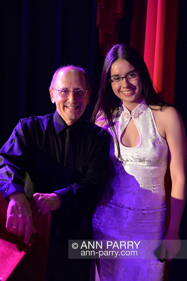 Bellmore, New York, USA. July 16, 2015. HENRY STAMPFEL, owner of Bellmore Movies, and NICOLE GONZALEZ, pose at the 18th Annual LIIFE Awards Ceremony. The Long Island International Film Festival was held at historic Bellmore Movies.