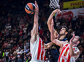 22nd March 2018, Aleksandar Nikolic Hall, Belgrade, Serbia; Turkish Airlines Euroleague Basketball, Crvena Zvezda mts Belgrade versus Fenerbahce Dogus Istanbul; Center Ahmet Duverioglu of Fenerbahce Dogus Istanbul fights for the ball against Guard Branko Lazic of Crvena Zvezda mts Belgrade and Center Stefan Jankovic of Crvena Zvezda mts Belgrade