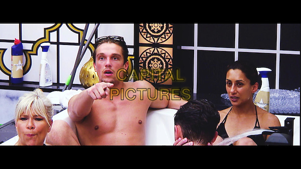 Celebrity Big Brother, Summer 2016, Day 8<br /> Samantha Fox, Lewis Bloor and Saira Khan.<br /> *Editorial Use Only*<br /> CAP/KFS<br /> Image supplied by Capital Pictures