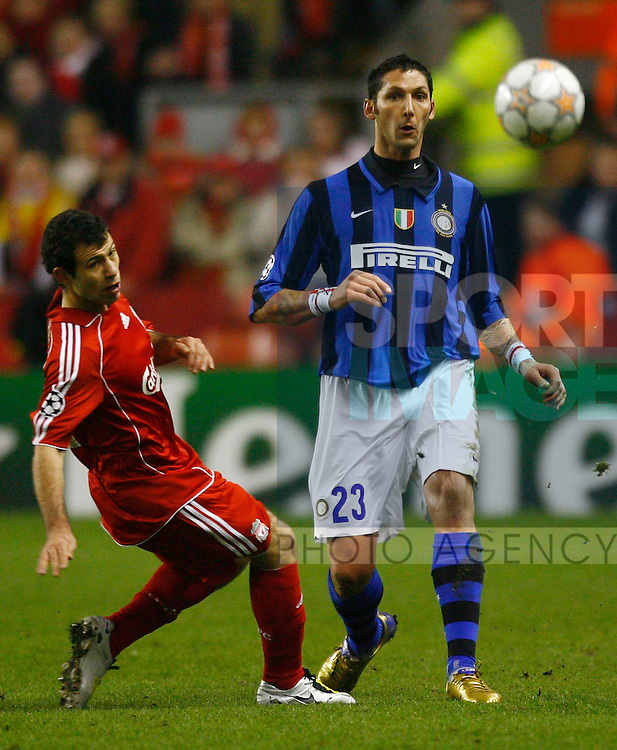 Marco Materazzi of Inter Milan and Liverpool's Javier Mascherano