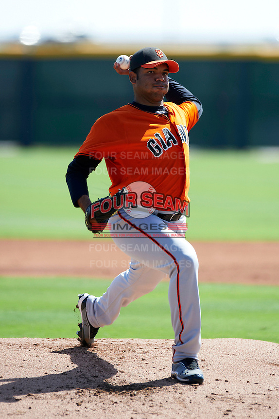 San Francisco Giants minor league pitcher Edwin Escober #55 during an instructional league game against the Colorado Rockies at the Salt River Flats Complex on October 4, 2012 in Scottsdale, Arizona.  (Mike Janes/Four Seam Images)
