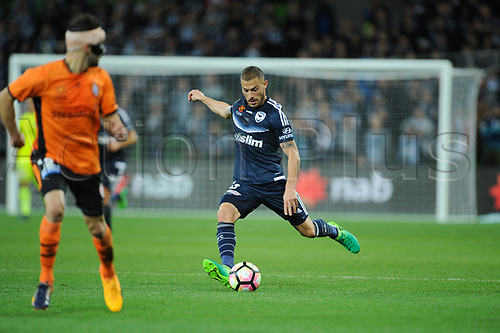 30th April 2017, AAMI Park, Melbourne, Australia; Hyundai A-League Football; Melbourne Victory versus Brisbane Roar FC; James Triosi of the Melbourne Victory has a shot for goal during the second half