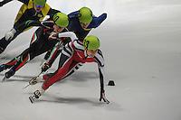 SHORTTRACK: DORDRECHT: Sportboulevard Dordrecht, 24-01-2015, ISU EK Shorttrack Ranking Races, Raia ZAHARIEVA (BUL | #110), Evita KRIEVANE (LAT | #133), ©foto Martin de Jong