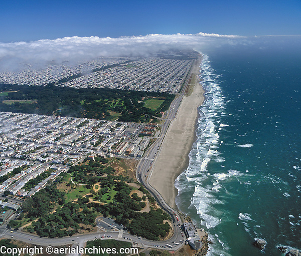 aerial photograph Ocean Beach Richmond Sunset residential neighborhoods San Francisco California