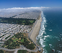 aerial photograph Ocean Beach Richmond Sunset residential neighborhoods San Francisco California