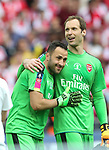 Petr Cech of Arsenal hugs David Ospina of Arsenal during the Emirates FA Cup Final match at Wembley Stadium, London. Picture date: May 27th, 2017.Picture credit should read: David Klein/Sportimage