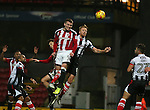 Caolan Lavery of Sheffield Utd heads over during the Checkatrade Trophy match at Blundell Park Stadium, Grimsby. Picture date: November 9th, 2016. Pic Simon Bellis/Sportimage