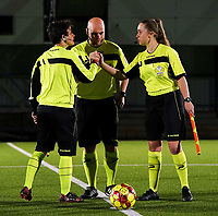 20.02.2020 OUD-HEVERLEE: Refeeres do a three way handshake before the  Belgian's Women's Super League match between Oud-Heverlee Leuven vs KRC Gent Ladies on Friday 20th February 2020, Stadion Oud-Heverlee, Oud-Heverlee, BELGIUM. PHOTO: SEVIL OKTEM