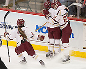 Kristyn Capizzano (BC - 7), Kaliya Johnson (BC - 6), Haley Skarupa (BC - 22) - The Boston College Eagles defeated the Northeastern University Huskies 5-1 (EN) in their NCAA Quarterfinal on Saturday, March 12, 2016, at Kelley Rink in Conte Forum in Boston, Massachusetts.