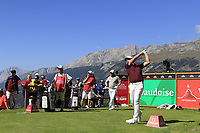 Matt Wallace (ENG) tees off the 7th tee during Saturday's Round 3 of the 2018 Omega European Masters, held at the Golf Club Crans-Sur-Sierre, Crans Montana, Switzerland. 8th September 2018.<br /> Picture: Eoin Clarke | Golffile<br /> <br /> <br /> All photos usage must carry mandatory copyright credit (&copy; Golffile | Eoin Clarke)