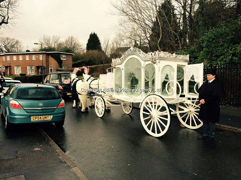COPY BY TOM BEDFORD<br /> Pictured: The horse drawn hearse carrying Ellie-May Clark at her funeral<br /> Re: Inquest to be held at Newport Coroner's Court, into the death of five year old Ellie-May Clark who died of an asthma attack, after being refused a GP appointment in Newport, south Wales. <br /> Dr Joanne Rowe refused to see her, on the grounds that her mother was a few minutes late for a booked appointment.<br /> A few hours later, Ellie-May Clark suffered a seizure and died, despite the efforts of an ambulance crew.