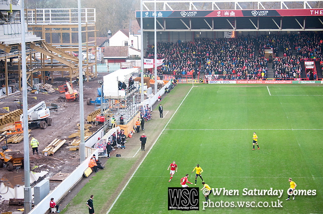 Bristol City 1 Middlesbrough 0, 16/01/2016. Ashton Gate, Championship. The make shift media gantry and the west stand development. Bristol City take on Championship leaders Middlesbrough. Ashton Gate is located in the south-west of the city, it currently has an all-seated capacity of 16,600, due to redevelopment, which will increase to a capacity of 27,000 by the start of the 2016-17 season. Bristol City won the game one goal to nil with a headed injury time winner. Photo by Simon Gill