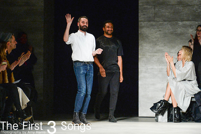 Ryan Lobo and Ramon Martin of TOME walk the runway at the TOME fashion show during Mercedes-Benz Fashion Week Fall 2015 at The Pavilion at Lincoln Center in New York City.