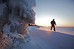 icy sunset on the Baikal lake