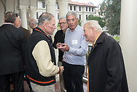 Occidental College alumni, staff and other members of the Oxy community gather in support of the football program, March 10, 2018 on Branca Patio.<br /> In January 2018 a 16-member task force of trustees, faculty, students, staff and alumni met to determine the fate of the football program in the wake of the premature end of the 2017 season. The College is moving full speed ahead with preparations for the 2018 season, led by the Football Action Team.<br /> (Photo by Marc Campos, Occidental College Photographer)