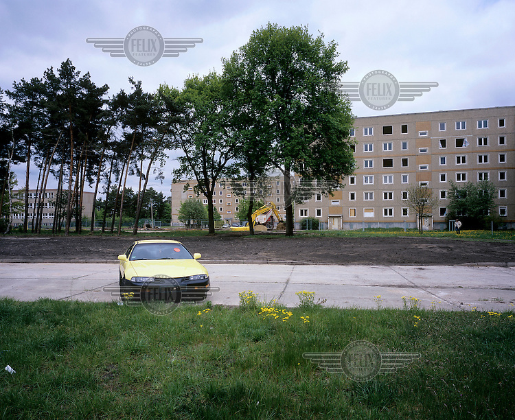 An empty pre-fabricated tower block shortly before demolition in Hoyerswerda Neustadt. Once a socialist model of the former GDR, Hoyerswerda-Neustadt is now the most shrinking city in Germany.