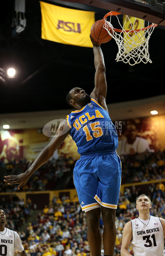 Jan. 26, 2013; Tempe, AZ, USA: UCLA Bruins forward Shabazz Muhammad (15) dunks the ball against the Arizona State Sun Devils at the Wells Fargo Arena. Arizona State defeated UCLA 78-60. Mandatory Credit: Mark J. Rebilas-USA TODAY Sports