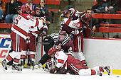 Alex Killorn (Harvard - 19), Landon Bathe, Daniel Moriarty (Harvard - 11), Kevin McNamara (Colgate - 10), Martin Hughes, Austin Mayer (Colgate - 19), Ryan Grimshaw (Harvard - 6), ?, Nick Prockow (Colgate - 21), Marshall Everson (Harvard - 21) - The Harvard University Crimson defeated the visiting Colgate University Raiders 4-2 on Saturday, November 12, 2011, at Bright Hockey Center in Cambridge, Massachusetts.