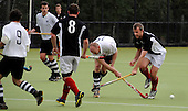 Scottish Hockey - Scottish Cup tie Stepps HC V Granite City Wanderers at Glasgow Uni Playing Fields, Millerston 3.10.10 - Stepps veteran defender Alan Coffey (centre, 15) gets the ball away from Wanderers forward Stuart Coetzer (right) during an attack by the visitors. Stepps HC ran out winners, although the 6-2 scoreline flattered the North Lanarkshire side - picture by Donald MacLeod - mobile 07702 319 738 - clanmacleod@btinternet.com - www.donald-macleod.com