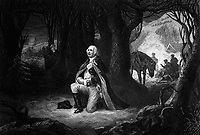 The Prayer at Valley Forge.  Gen. George Washington, winter 1777-78.  Copy of engraving by John C. McRae after Henry Brueckner, published 1866.  (George Washington Bicentennial Commission)<br />