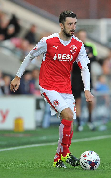Fleetwood Town's Conor McLaughlin on the ball<br /> <br /> Photographer Dave Howarth/CameraSport<br /> <br /> Football - Capital One Cup First Round - Fleetwood Town v Hartlepool United - Tuesday 11th August 2015 - Highbury Stadium - Fleetwood<br />  <br /> &copy; CameraSport - 43 Linden Ave. Countesthorpe. Leicester. England. LE8 5PG - Tel: +44 (0) 116 277 4147 - admin@camerasport.com - www.camerasport.com
