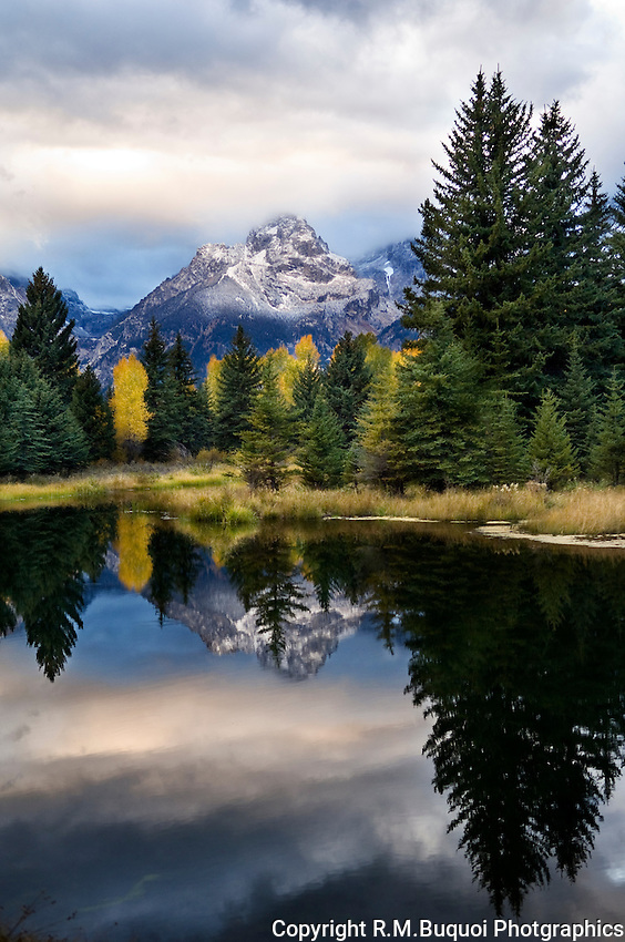 Cloudy evening at Schwabacher's Landing, Grand Teton National Park