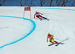 PyeongChang 13/3/2018 - Mac Marcoux and guide Jack Leitch ski in the super-G portion of the super combined at the Jeongseon Alpine Centre during the 2018 Winter Paralympic Games in Pyeongchang, Korea. Photo: Dave Holland/Canadian Paralympic Committee