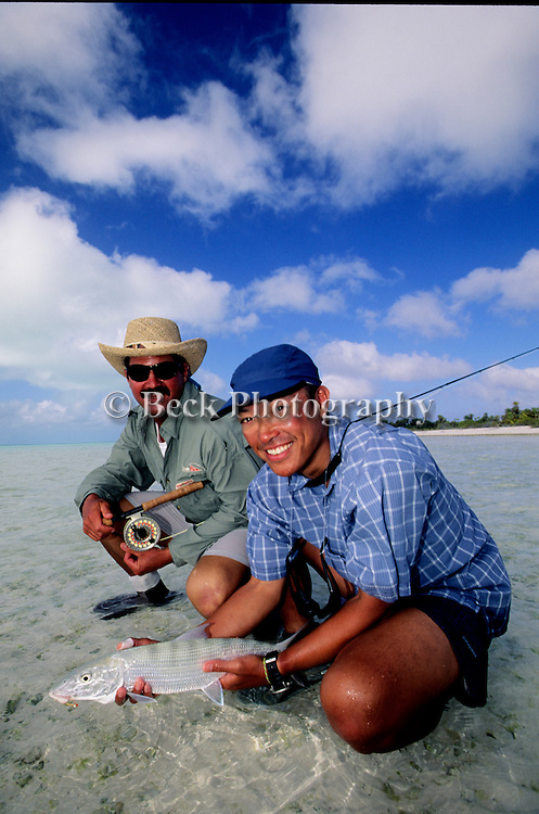 Jim Betz and Rex Ishibashi with a bonefish from Kiribati, Christmas Island.