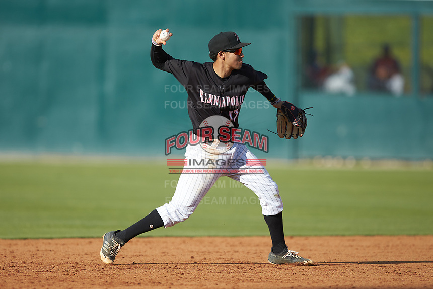 Kannapolis Intimidators shortstop Laz Rivera (13) makes a throw to first base against the Hagerstown Suns at Kannapolis Intimidators Stadium on May 6, 2018 in Kannapolis, North Carolina. The Intimidators defeated the Suns 4-3. (Brian Westerholt/Four Seam Images)