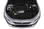 Car stock 2019 Peugeot 508 GT 5 Door Hatchback engine high angle detail view