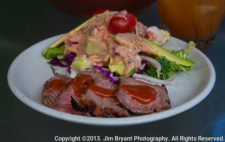 grilled roast with salad made with iceberg, romaine lettuce, red cabbage, carrots, radishes, avocado, tomatoes, cucumbers and homemade Thousand Island dressing. ©2013. Jim Bryant Photo. All Rights Reserved.