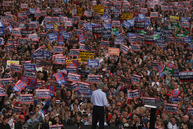 Senator John Kerry speaks at rally in downtown Madison, WI, where some 80000 people filled the streets to see  Kerry and rock music legend Bruce Springsteen. Madison, WI, October 28, 2004.