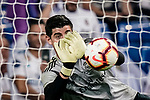 Goalkeeper Thibaut Courtois of Real Madrid warming up during their La Liga  2018-19 match between Real Madrid CF and Atletico de Madrid at Santiago Bernabeu on September 29 2018 in Madrid, Spain. Photo by Diego Souto / Power Sport Images